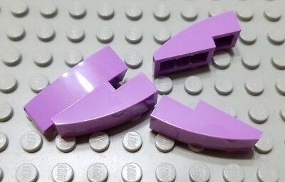 New LEGO Lot of 4 Medium Lavender 3x1 Curved Slope Pieces