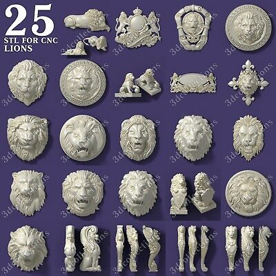 3d stl model cnc router artcam aspire 25 pcs lion collection