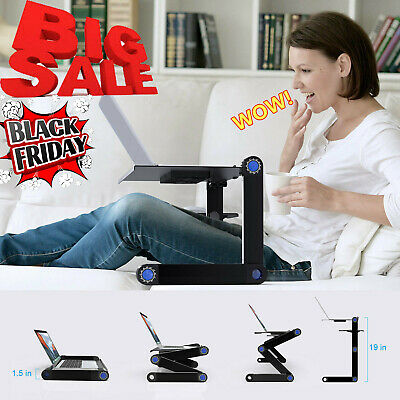 Foldable Laptop Desk Computer Table Cooling Adjustable Stand Tray For Sofa Bed