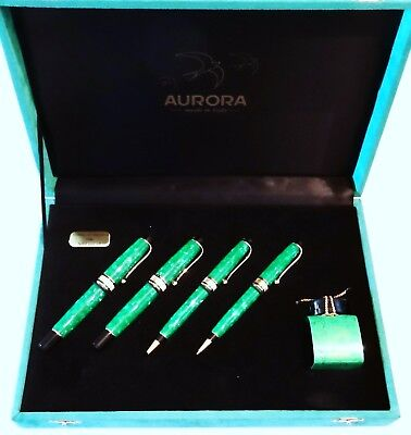 Aurora Set Of Limited Edition Primavera Quartet Pens In Dappled Green & Gold