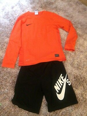 Boys Nike Outfit Football Top And Sb Shorts Black Size M Age 8-9 9 - 10