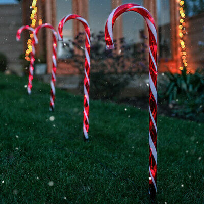 Plug In Outdoor Garden Christmas Xmas LED Candy Cane Stake Path Lights, 1.5m