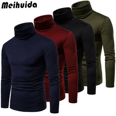UK Fashion Mens Polo Roll Turtle Neck Pullover Knitted Jumper Tops Sweater Shirt