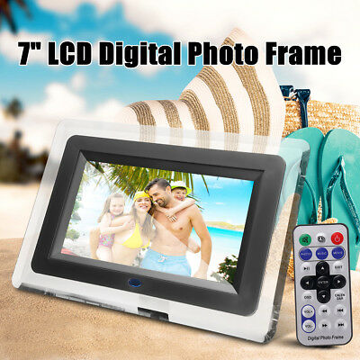 7 inch LCD Digital Photo Picture Frame Clock Music Video Player Remote Control