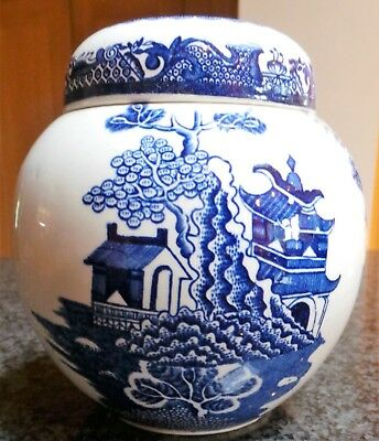 VINTAGE CHINESE BLUE & WHITE Pagoda/tree DESIGN GINGER JAR/POT 14cms tall