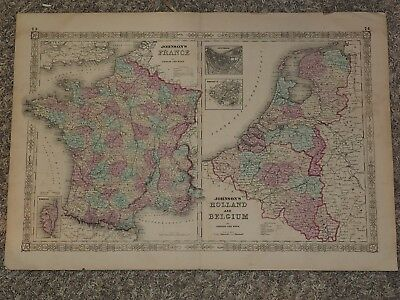 """1863 JOHNSON'S France,Holland and Belgium Double map hand colored 18"""" x 26"""""""