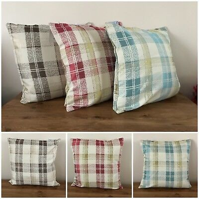 "zena checked tarten cushion covers 18"" Brown, Red, turquoise new"