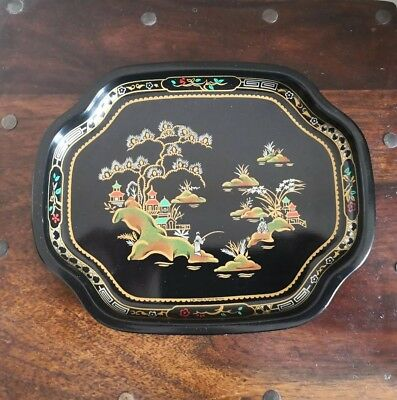 Vintage Worcester Ware Tray Collectable Oriental Scene