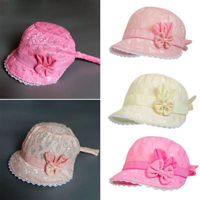 fe8c4ab2b77 Fashion Lovely Baby Girl Cap Summer Princess Hat Bow Lace Kids Beach Bucket  Hats
