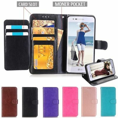 Magnetic Holder Leather wallet Card  Case For LG Q7/Q7plus /stylo 4/ Q stylus