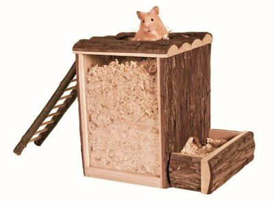 Trixie Natural Wood Play & Burrow Large Tower Hamster Gerbil Rat Cage Toy 62002