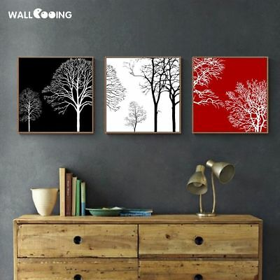 Black White Red Tree Modern Art Print Image Screen Canvas Calligraphy Painting