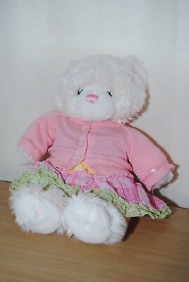 Build A Bear 16 Inch Cream & Pink Teddy Bear With Outfit Soft Plush Toy