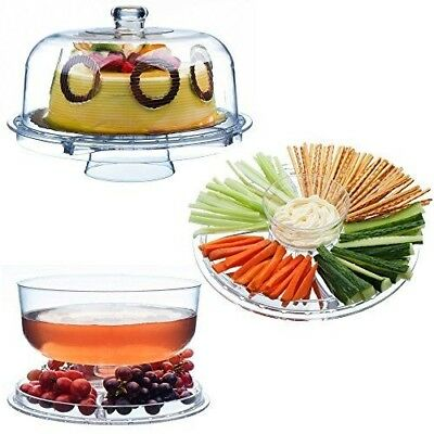 6-in-1 Acrylic Cake Stand Cupcake Holder Salad Serving Platter with Dome