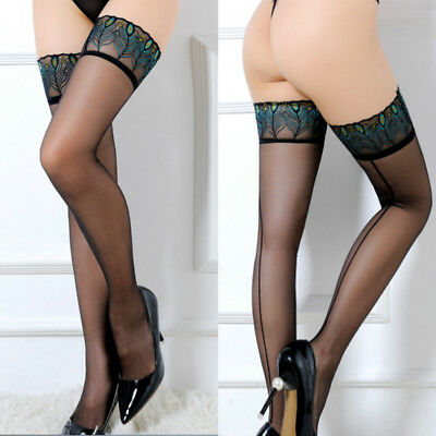 Women Sheer Lace Top Stay Up Stockings Thigh High Pantyhose Hold-up Tights AU