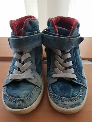 Gorgeous Pair Of Unisex Denim Hi-Top Trainers Size UK 10 euro 28 Kids From H&M