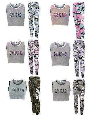 New Girls Squad Camouflage Sleeveless Crop Top Legging 2Pcs Lounge Wear Set 7-13