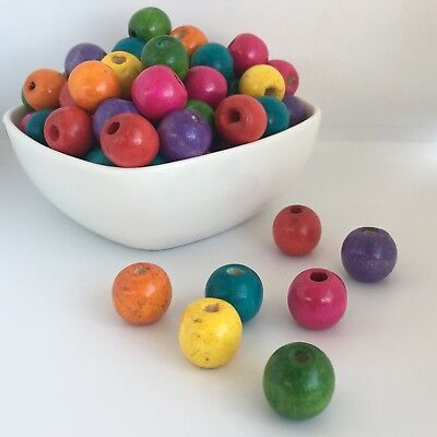 25X Mixed Multi Colour Painted Wooden Beads 16x15mm Round Rainbow Wood Bead