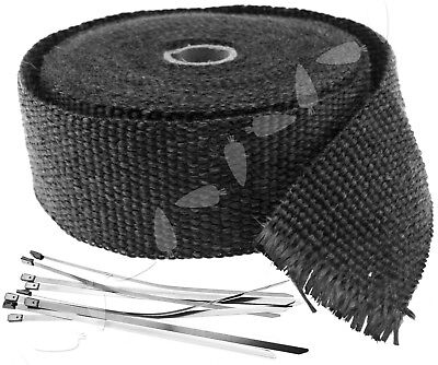 10m x 5cm 33ft Exhaust Manifold Downpipe Black Heat Wrap With Ties Pipe Tape