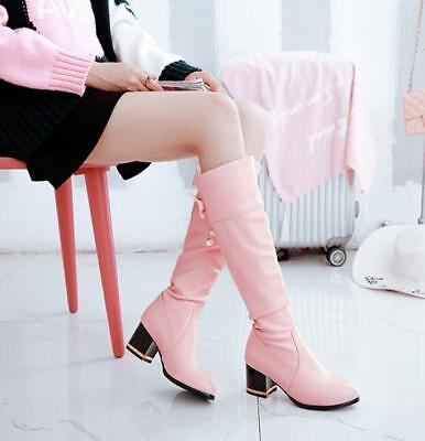 Womens Cute Bow Knee High Boots Med Heels Girls Pull On Casual Shoes Knight V135