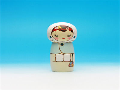 Kokeshi Japanese traditional crafts Outing in winter cute handmade rare F / S!