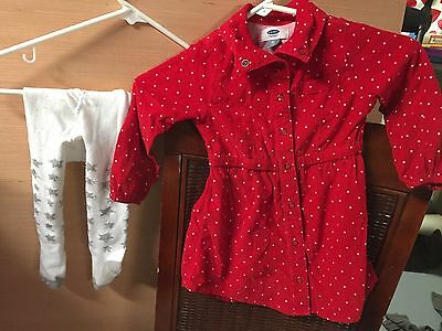 toddler dress. 2T By Old Navy. Red Lg Sleeve Button Up Dress With White Tights