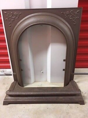 Antique Cast Iron Fireplace Surround Arched With Fender Flower And Vine Motif