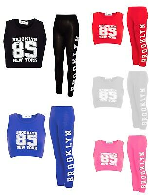 Girls Brooklyn 85 New York Sleeveless Crop Top Legging Tracksuit Loungewear 7-13