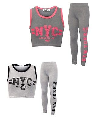 Girls Nyc Athletic Co Sleeveless Crop Top Legging 2Pc Lounge Wear Tracksuit 7-13