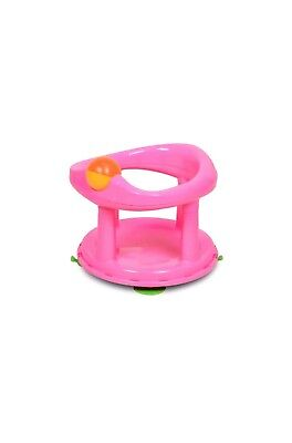 Baby Swivel Bath Seat Pink Plastic Bathing Chair Bath Support Babies 6 Months+