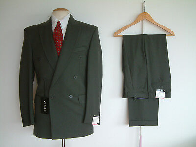 """1940's STYLE SUIT..DOUBLE BREASTED..TWIN PLEATS..PTU's..36"""" x 31""""..JAEGER..NOS"""