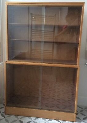 Vintage Glass Fronted Golden Oak Bookcase or Display Cabinet (134cm high)