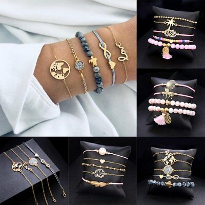 4/5pcs/set Women Love Heart Sea Turtle Weave Rope Bead Bracelet Jewelry Gift