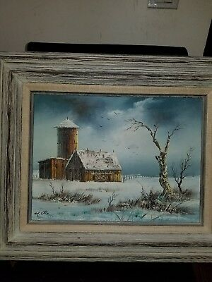 VINTAGE  SIGNED  M. OTTO ~Original Oil Painting~Cabin in the Winter  Woods