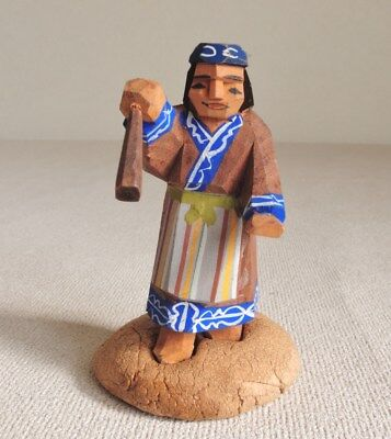 2 inch Japanese Vintage carved wooden doll ittobori Ainu with paper clay stand