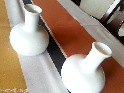 2 RARE Vintage white DANSK TAPERED  CANDLE HOLDERS MID CENTURY DANISH MODERN