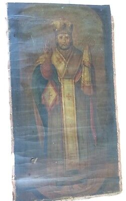 Antique Russian Icon Hand-Painted in Canvas St. Nicholas 19th century.