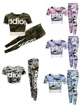 Girls Kids Adios Pink Camouflage Tracksuit Children Crop Top Leggings Age 7-13