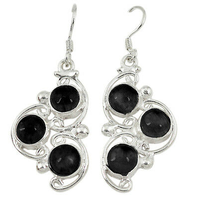 Natural Black Onyx 925 Sterling Silver Dangle Earrings Jewelry The Jaipur Shop