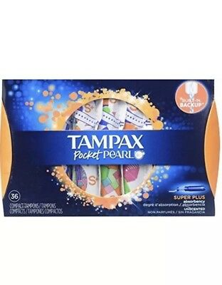 Tampax Pocket Pearl Tampons Super Absorbency Unscented 3pack 36ct-108 total