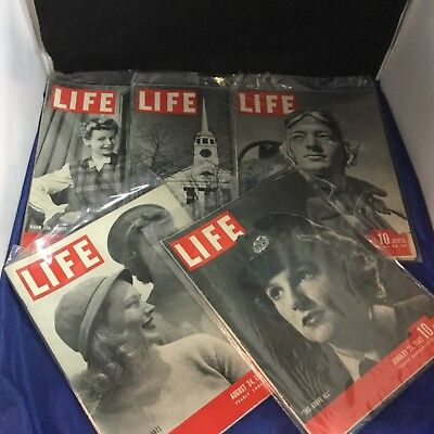 Life Magazine - Lot of 5 - 1942 - Antique - Rare - Collectible - Lot A