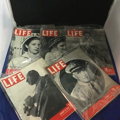 Life Magazine - Lot of 5 - 1942 - Antique - Rare - Collectible - Lot B