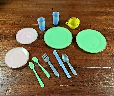 Vintage Doll or Large Dollhouse Plastic Dishes, Glasses, Spoon Hong Kong