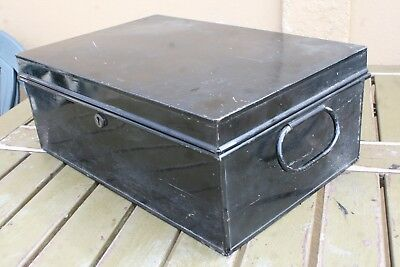 Vintage Black Tin Deed/title Box - No Key