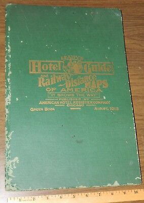 1916 Leahy's Hotel Guide & Railway Distance Maps of America Green Book Railroad