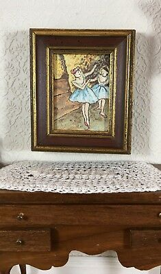 Dollhouse Miniature Original Oil Painting of 2 Ballet Dances on Stage Signed