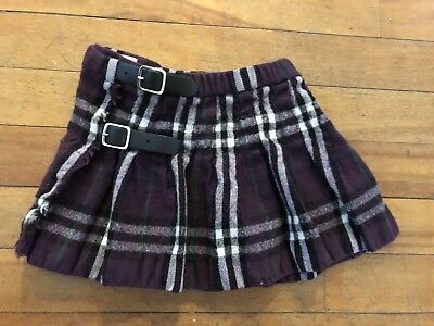 Burberry Wool Baby Girl Plaid Wrap Around Skirt - Size 18-24 Months Authentic