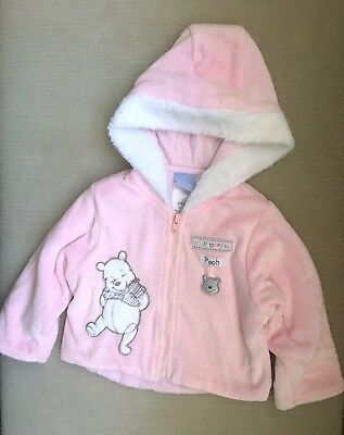 Disney Winnie the Pooh Pink Fluffy Hooded Jumper with Zip! Size 000! Like New!