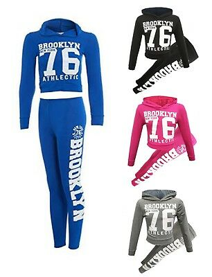 Girls Ls Brooklyn New York 76 Hooded Crop Top & Bottom Set Kids Loungewear Suit