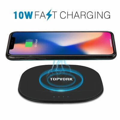 Fast QI Wireless Charger Pad For Samsung Galaxy S8 S9 Plus Note 9 & iPhone XS XR